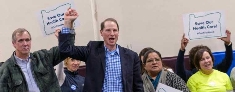 Ron Wyden & Jeff Merkley at a health care rally